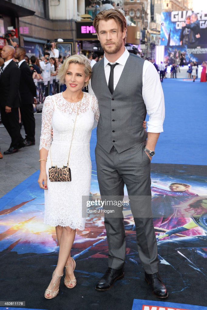 Chis Hemsworth and <a gi-track='captionPersonalityLinkClicked' href=/galleries/search?phrase=Elsa+Pataky&family=editorial&specificpeople=242789 ng-click='$event.stopPropagation()'>Elsa Pataky</a> attend the European premiere of 'Guardians Of The Galaxy' at The Empire Leicester Square on July 24, 2014 in London, England.