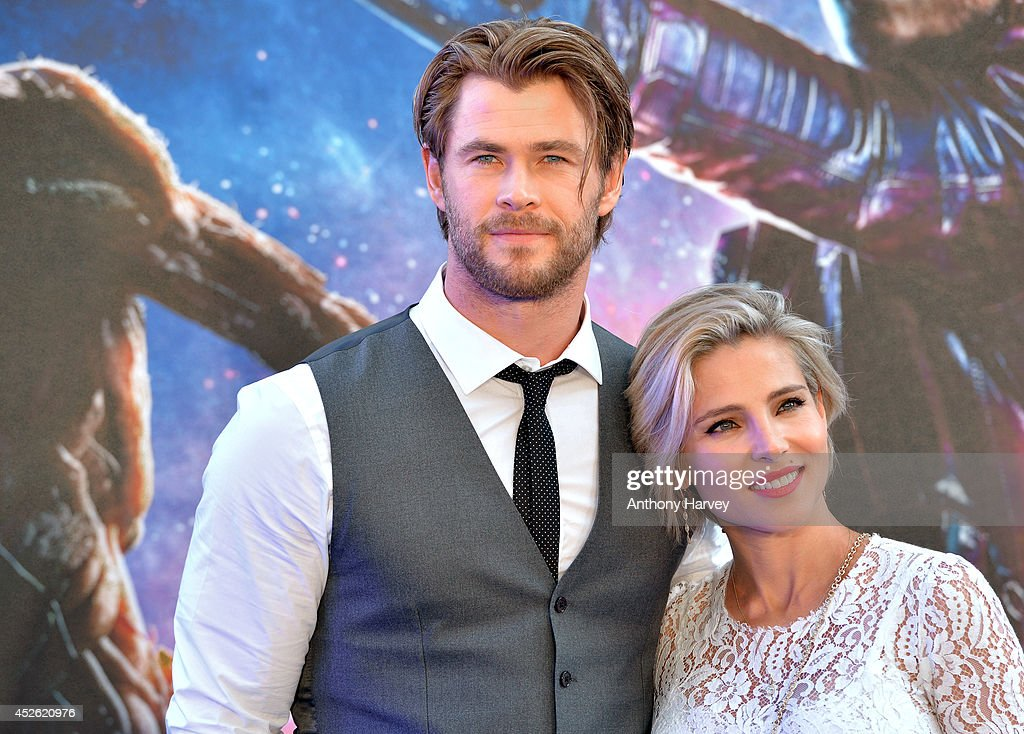 Chris Hemsworth and Elsa Pataky attend the UK Premiere of 'Guardians of the Galaxy' at Empire Leicester Square on July 24 2014 in London England
