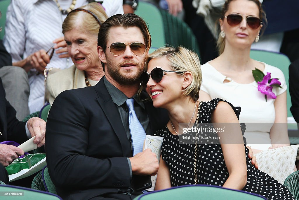 Chris Hemsworth and Elsa Pataky in the Royal Box on Centre Court before the Gentlemen's Singles Final match between Roger Federer of Switzerland and...