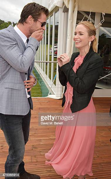 Chris Hemsworth and Emily Blunt attend day two of the Audi Polo Challenge at Coworth Park on May 31 2015 in London England