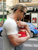 Chris Hemsworth and his daughter India Rose Hemsworth are seen on July 2 2012 in Madrid Spain