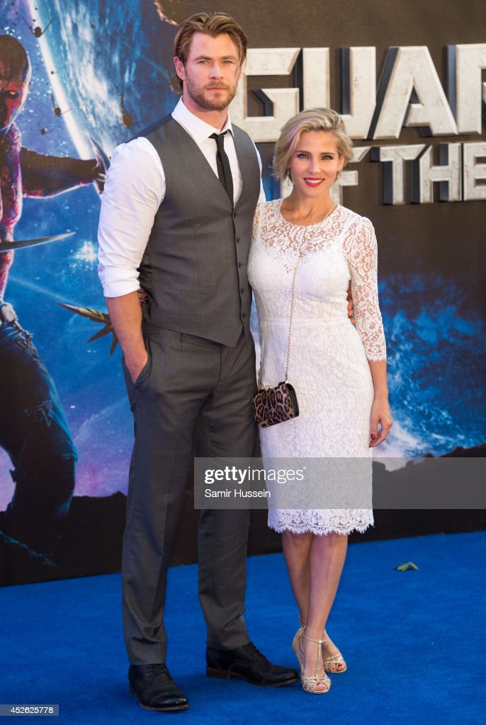 <a gi-track='captionPersonalityLinkClicked' href=/galleries/search?phrase=Chris+Hemsworth&family=editorial&specificpeople=646776 ng-click='$event.stopPropagation()'>Chris Hemsworth</a> (L) and his wife <a gi-track='captionPersonalityLinkClicked' href=/galleries/search?phrase=Elsa+Pataky&family=editorial&specificpeople=242789 ng-click='$event.stopPropagation()'>Elsa Pataky</a> attend the UK Premiere of 'Guardians of the Galaxy' at Empire Leicester Square on July 24, 2014 in London, England.