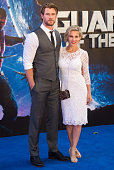 Chris Hemsworth and his wife Elsa Pataky attend the UK Premiere of 'Guardians of the Galaxy' at Empire Leicester Square on July 24 2014 in London...