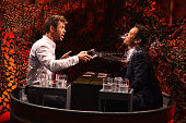 Chris Hemsworth and Jimmy Fallon play a game of 'Water War' during a taping of 'The Tonight Show Starring Jimmy Fallon' at Rockefeller Center on...