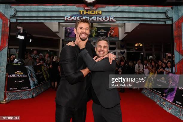 Chris Hemsworth and Mark Ruffalo attend the Thor Ragnarok Sydney Screening Event on October 15 2017 in Sydney Australia