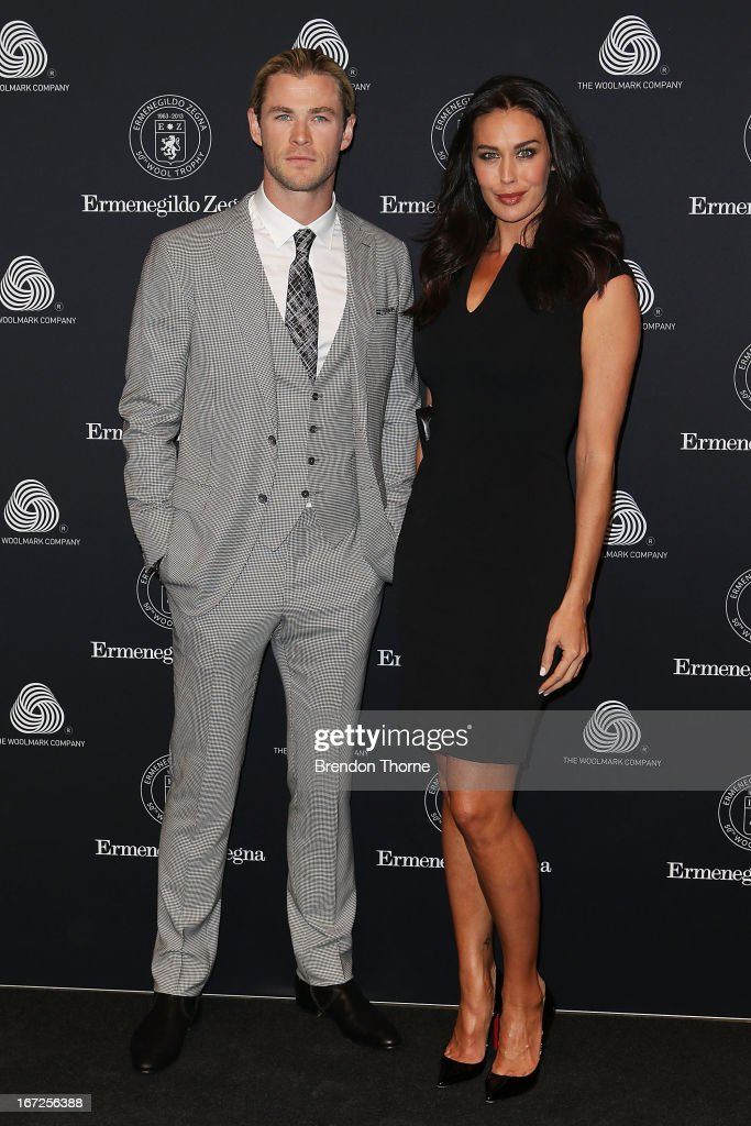 <a gi-track='captionPersonalityLinkClicked' href=/galleries/search?phrase=Chris+Hemsworth&family=editorial&specificpeople=646776 ng-click='$event.stopPropagation()'>Chris Hemsworth</a> and <a gi-track='captionPersonalityLinkClicked' href=/galleries/search?phrase=Megan+Gale&family=editorial&specificpeople=202042 ng-click='$event.stopPropagation()'>Megan Gale</a> arrive for the 50th Anniversary Wool Awards at the Royal Hall of Industries, Moore Park on April 23, 2013 in Sydney, Australia.