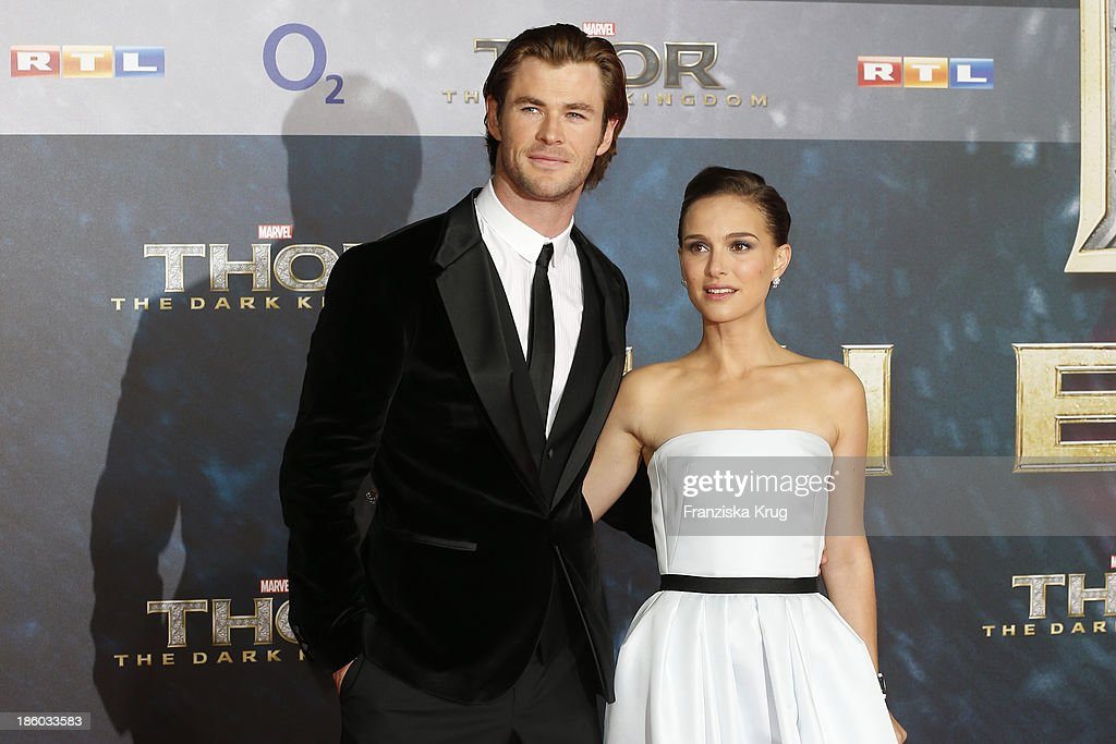 <a gi-track='captionPersonalityLinkClicked' href=/galleries/search?phrase=Chris+Hemsworth&family=editorial&specificpeople=646776 ng-click='$event.stopPropagation()'>Chris Hemsworth</a> and <a gi-track='captionPersonalityLinkClicked' href=/galleries/search?phrase=Natalie+Portman&family=editorial&specificpeople=202035 ng-click='$event.stopPropagation()'>Natalie Portman</a> attend the 'Thor: The Dark Kingdom' Germany Premiere at CineStar Potsdamer Platz on October 27, 2013 in Berlin, Germany.