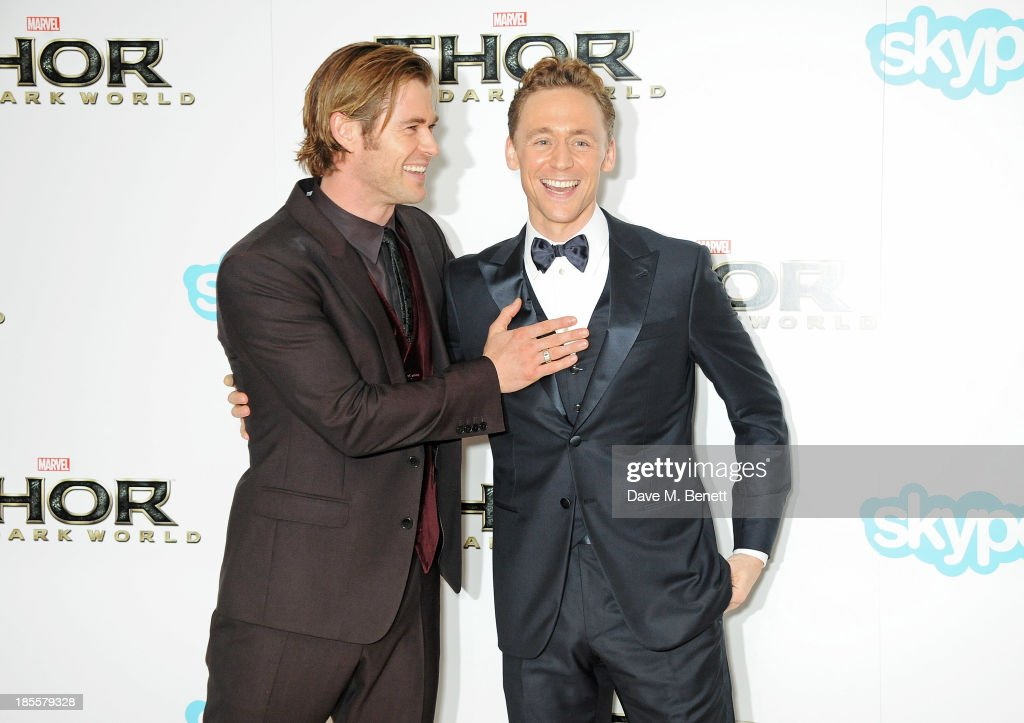 <a gi-track='captionPersonalityLinkClicked' href=/galleries/search?phrase=Chris+Hemsworth&family=editorial&specificpeople=646776 ng-click='$event.stopPropagation()'>Chris Hemsworth</a> (L) and <a gi-track='captionPersonalityLinkClicked' href=/galleries/search?phrase=Tom+Hiddleston&family=editorial&specificpeople=4686407 ng-click='$event.stopPropagation()'>Tom Hiddleston</a> attend the World Premiere of 'Thor: The Dark World' at Odeon Leicester Square on October 22, 2013 in London, England.