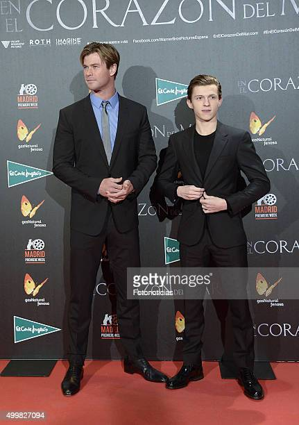 Chris Hemsworth and Tom Holland attend the 'In The Heart Of The Sea' Premiere at Callao Cinema on December 3 2015 in Madrid Spain