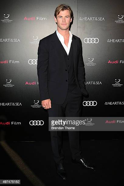 Chris Hemsworth arrives ahead of the Audi Film Gala's exclusive charity screening of 'In The Heart of The Sea' at Hoyts Entertainment Quarter on...