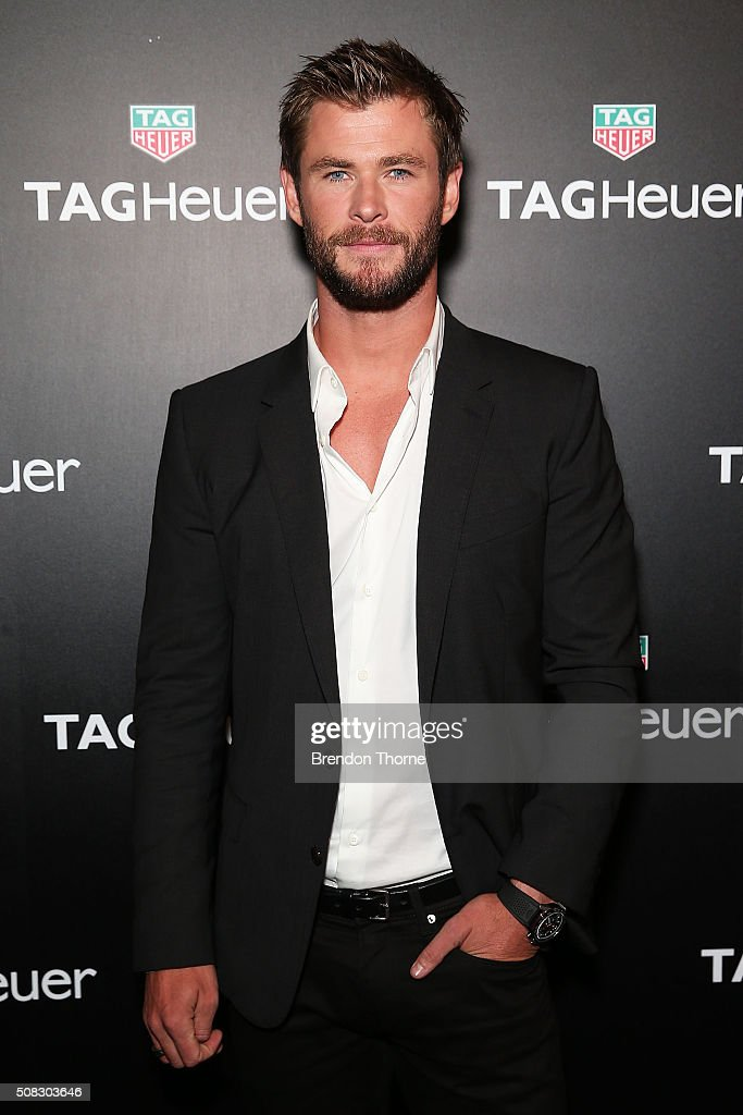 Chris Hemsworth arrives at the Australian launch of Heuer 01 at The Royal Botanic Gardens on February 4 2016 in Sydney Australia