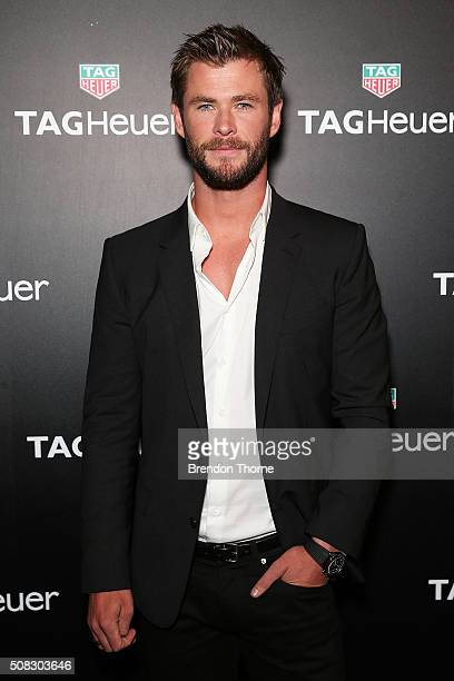 Chris Hemsworth arrives at the Australian launch of Heuer 01 at The Royal Botanic Gardens on February 4 2016 in Sydney Australia