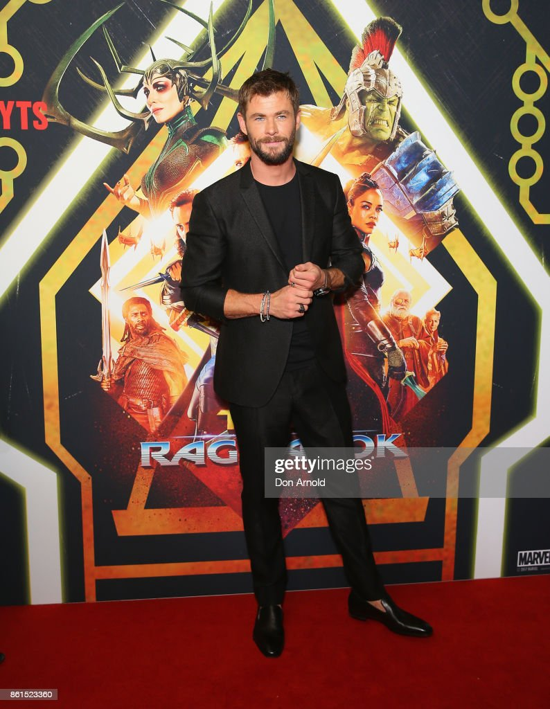 Chris Hemsworth arrives for the premiere screening of Thor: Ragnarok Sydney at Fox Studios on October 15, 2017 in Sydney, Australia.