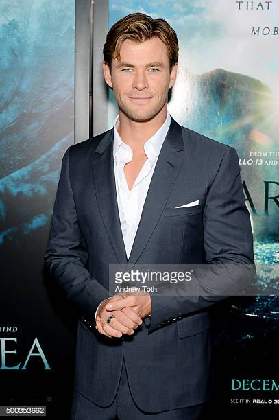 Chris Hemsworth attends 'In The Heart Of The Sea' New York premiere at Frederick P Rose Hall Jazz at Lincoln Center on December 7 2015 in New York...