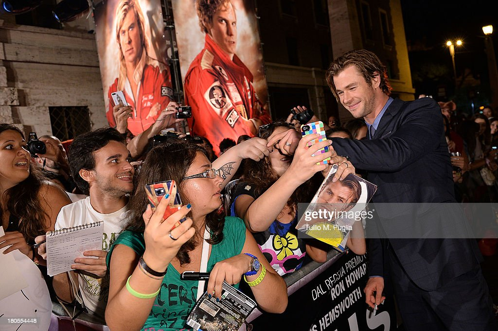 <a gi-track='captionPersonalityLinkClicked' href=/galleries/search?phrase=Chris+Hemsworth&family=editorial&specificpeople=646776 ng-click='$event.stopPropagation()'>Chris Hemsworth</a> attends 'Rush' The Movie Rome Premiere at Auditorium della Conciliazione on September 14, 2013 in Rome, Italy.