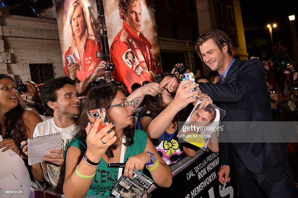 Chris Hemsworth attends 'Rush' The Movie Rome Premiere at Auditorium della Conciliazione on September 14, 2013 in Rome, Italy.