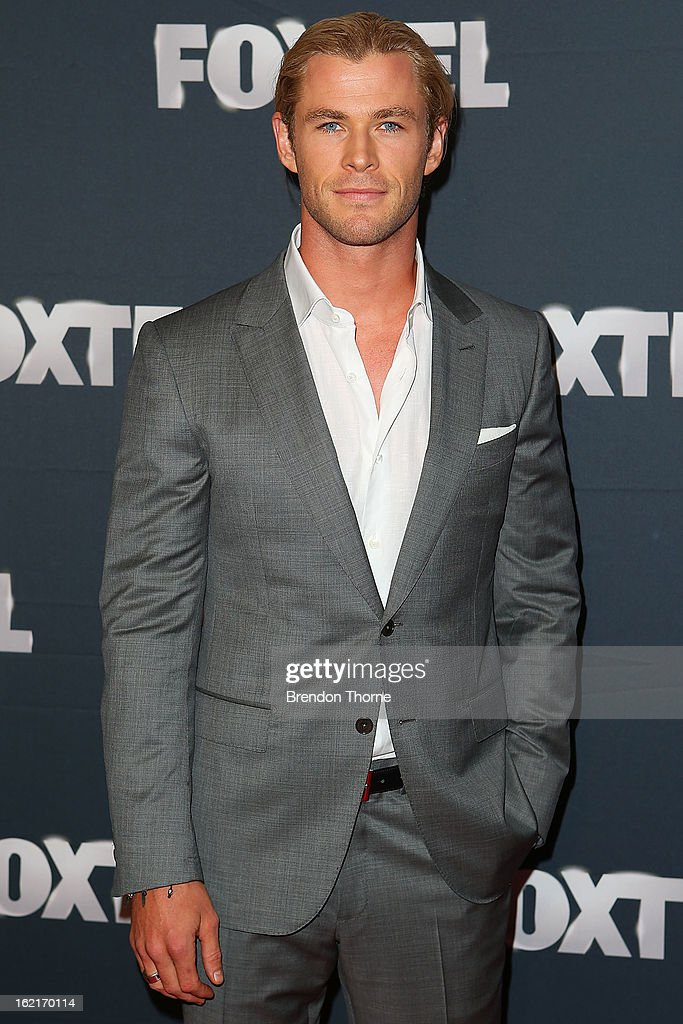 <a gi-track='captionPersonalityLinkClicked' href=/galleries/search?phrase=Chris+Hemsworth&family=editorial&specificpeople=646776 ng-click='$event.stopPropagation()'>Chris Hemsworth</a> attends the 2013 Foxtel Launch at Fox Studios on February 20, 2013 in Sydney, Australia.