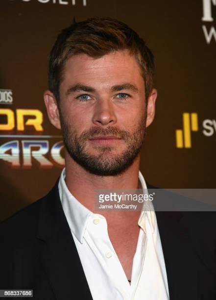 Chris Hemsworth attends The Cinema Society's Screening Of Marvel Studios' 'Thor Ragnarok' at the Whitby Hotel on October 30 2017 in New York City