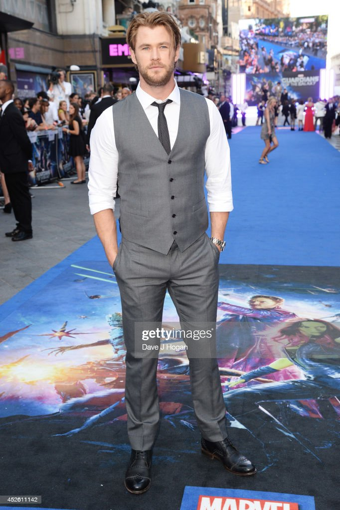 <a gi-track='captionPersonalityLinkClicked' href=/galleries/search?phrase=Chris+Hemsworth&family=editorial&specificpeople=646776 ng-click='$event.stopPropagation()'>Chris Hemsworth</a> attends the European premiere of 'Guardians Of The Galaxy' at The Empire Leicester Square on July 24, 2014 in London, England.
