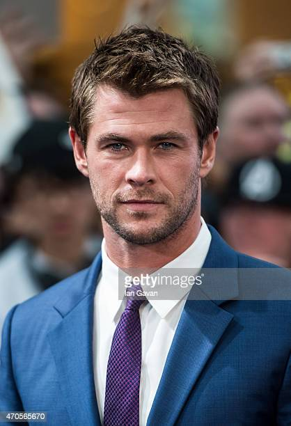 Chris Hemsworth attends the European premiere of 'The Avengers Age Of Ultron' at Westfield London on April 21 2015 in London England