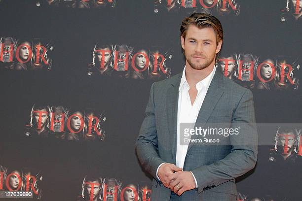 Chris Hemsworth attends the 'Thor' photocall at Hassler Hotel on April 15 2011 in Rome Italy