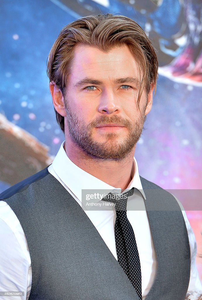 Chris Hemsworth attends the UK Premiere of 'Guardians of the Galaxy' at Empire Leicester Square on July 24 2014 in London England