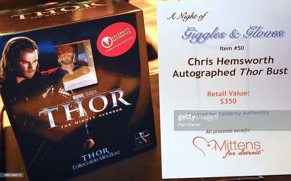 A <a gi-track='captionPersonalityLinkClicked' href=/galleries/search?phrase=Chris+Hemsworth&family=editorial&specificpeople=646776 ng-click='$event.stopPropagation()'>Chris Hemsworth</a> autographed 'Thor' bust is seen during a silent auction at Mittens for Detroit's 4th annual night of Giggles and Gloves at MGM Grand Hotel on January 25, 2014 in Detroit, Michigan.