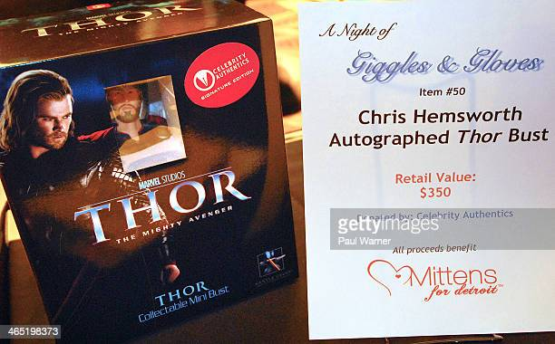 Chris Hemsworth autographed 'Thor' bust is seen during a silent auction at Mittens for Detroit's 4th annual night of Giggles and Gloves at MGM Grand...
