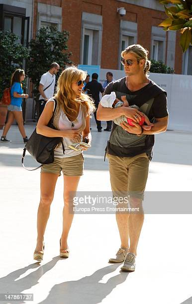 Chris Hemsworth Elsa Pataky and their daughter India Rose are seen leaving Thyssen Museum on July 4 2012 in Madrid Spain