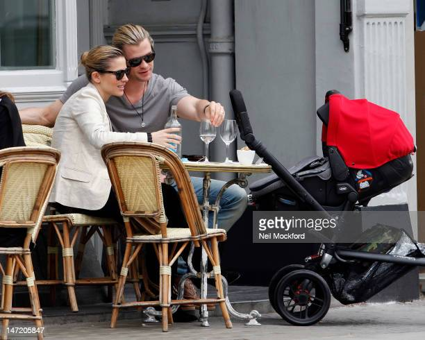 Chris Hemsworth Elsa Pataky and their daughter India Rose Hemsworth are seen having lunch and house hunting in Notting Hill on June 27 2012 in London...