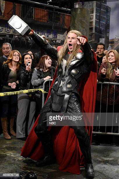LIVE 'Chris Hemsworth' Episode 1677 Pictured Chris Hemsworth as Thor during the 'Avengers News Report' skit on March 7 2015