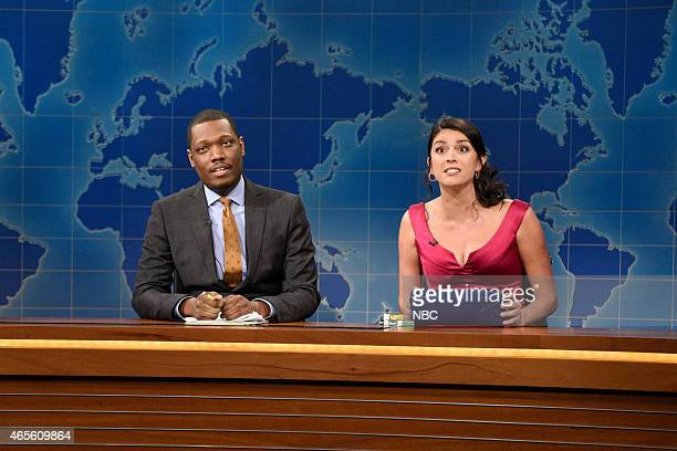 LIVE 'Chris Hemsworth' Episode 1677 Pictured Michael Che and Cecily Strong as The Girl You Wish You Hadn't Started a Conversation with at a Party...