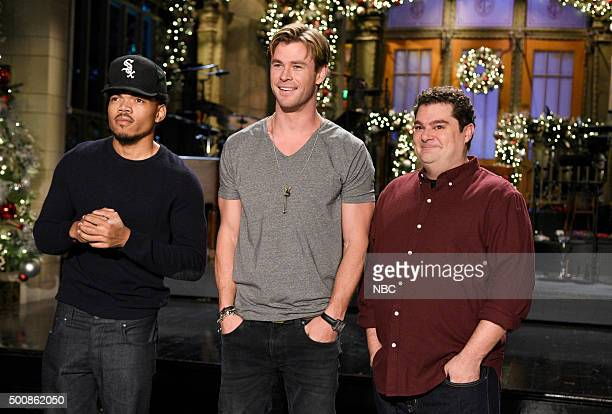 LIVE 'Chris Hemsworth' Episode 1691 Pictured Chance The Rapper Chris Hemsworth and Bobby Moynihan on December 10 2015