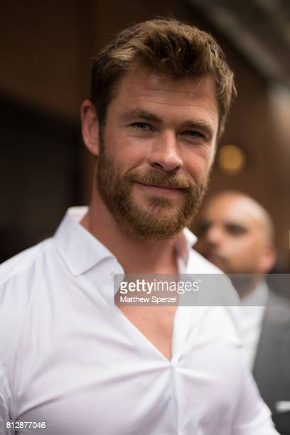 Chris Hemsworth is seen attending BOSS during Men's New York Fashion Week wearing Hugo Boss on July 11 2017 in New York City