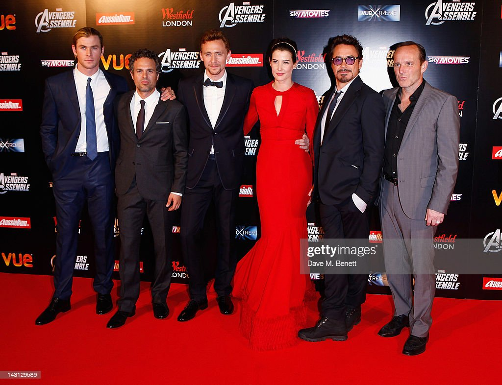 <a gi-track='captionPersonalityLinkClicked' href=/galleries/search?phrase=Chris+Hemsworth&family=editorial&specificpeople=646776 ng-click='$event.stopPropagation()'>Chris Hemsworth</a>, <a gi-track='captionPersonalityLinkClicked' href=/galleries/search?phrase=Mark+Ruffalo&family=editorial&specificpeople=209317 ng-click='$event.stopPropagation()'>Mark Ruffalo</a>, <a gi-track='captionPersonalityLinkClicked' href=/galleries/search?phrase=Tom+Hiddleston&family=editorial&specificpeople=4686407 ng-click='$event.stopPropagation()'>Tom Hiddleston</a>, <a gi-track='captionPersonalityLinkClicked' href=/galleries/search?phrase=Cobie+Smulders&family=editorial&specificpeople=739940 ng-click='$event.stopPropagation()'>Cobie Smulders</a>, Robert Downey Jr and <a gi-track='captionPersonalityLinkClicked' href=/galleries/search?phrase=Clark+Gregg&family=editorial&specificpeople=587275 ng-click='$event.stopPropagation()'>Clark Gregg</a> attends Marvel Avengers Assemble European Premiere at Vue Westfield on April 19, 2012 in London, England.