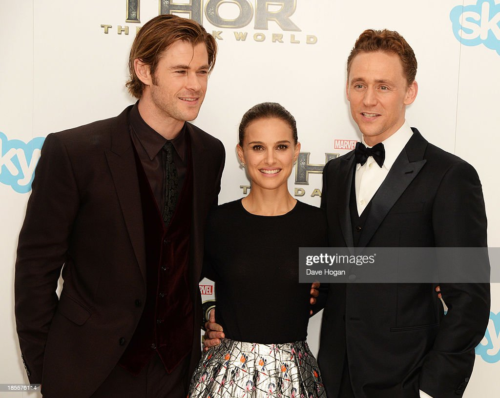 <a gi-track='captionPersonalityLinkClicked' href=/galleries/search?phrase=Chris+Hemsworth&family=editorial&specificpeople=646776 ng-click='$event.stopPropagation()'>Chris Hemsworth</a>, <a gi-track='captionPersonalityLinkClicked' href=/galleries/search?phrase=Natalie+Portman&family=editorial&specificpeople=202035 ng-click='$event.stopPropagation()'>Natalie Portman</a> and <a gi-track='captionPersonalityLinkClicked' href=/galleries/search?phrase=Tom+Hiddleston&family=editorial&specificpeople=4686407 ng-click='$event.stopPropagation()'>Tom Hiddleston</a> attend the world premiere of 'Thor: The Dark World' at The Odeon Leicester Square on October 22, 2013 in London, England.