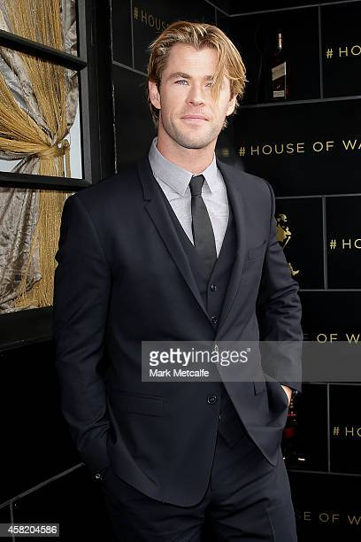 Chris Hemsworth poses at the Johnnie Walker Marquee on Derby Day at Flemington Racecourse on November 1 2014 in Melbourne Australia