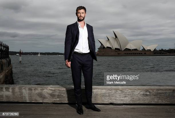 Chris Hemsworth poses during a photo call for Thor Ragnarok on October 15 2017 in Sydney Australia