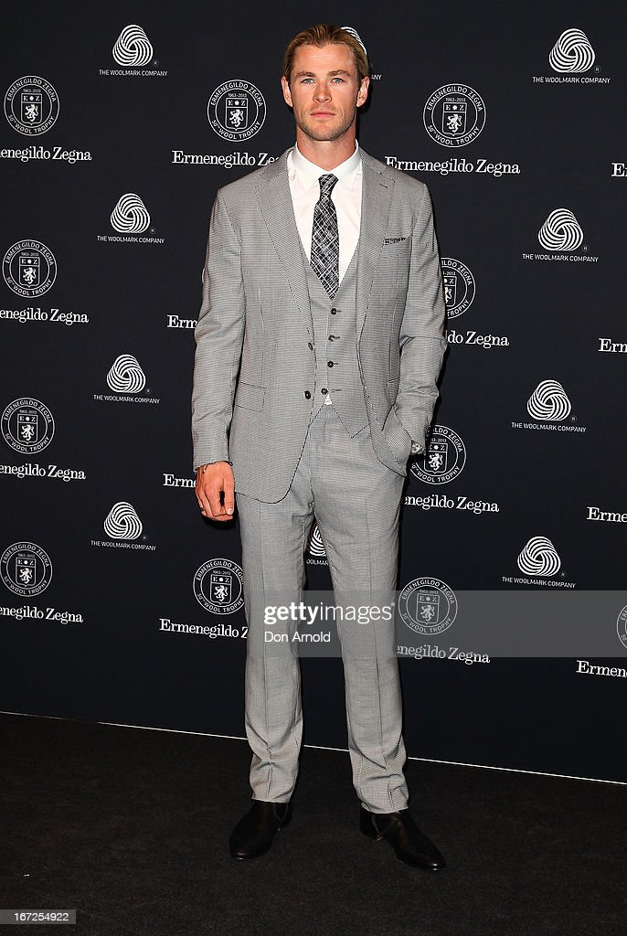 <a gi-track='captionPersonalityLinkClicked' href=/galleries/search?phrase=Chris+Hemsworth&family=editorial&specificpeople=646776 ng-click='$event.stopPropagation()'>Chris Hemsworth</a> poses during the 50th Anniversary Wool Awards at Royal Hall of Industries, Moore Park on April 23, 2013 in Sydney, Australia.