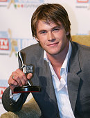 Chris Hemsworth poses with his Logie for Most Popular New Male Talent at the 47th Annual TV Week Logie Awards at the Crown Entertainment Complex May...