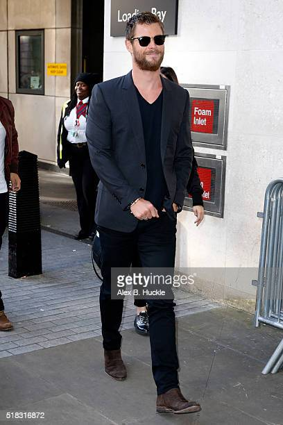 Chris Hemsworth seen arriving at the BBC Radio 1 Studios on March 31 2016 in London England