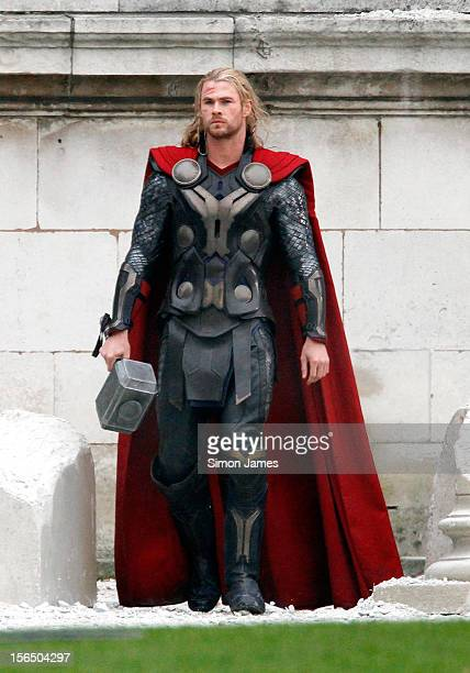 Chris Hemsworth sighted filming on the set of Thor 2 on November 16 2012 in London England