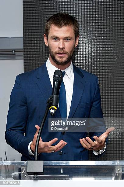 Chris Hemsworth speaks onstage during the 'There's Nothing Like Australia' campaign launch at Celsius at Bryant Park on January 25 2016 in New York...