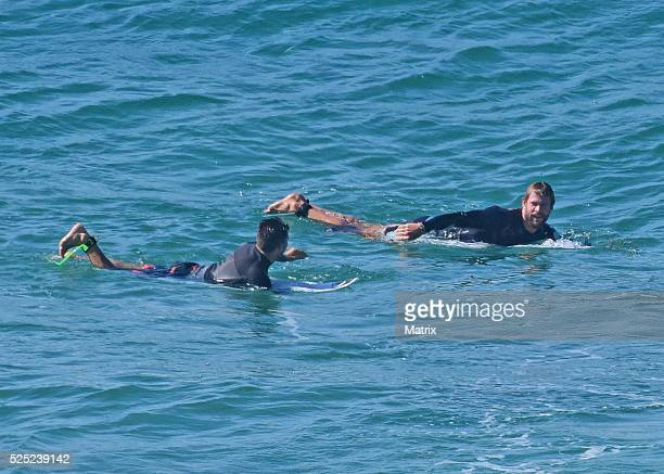 Chris Hemsworth surfs on April 28 2016 in Byron Bay Australia