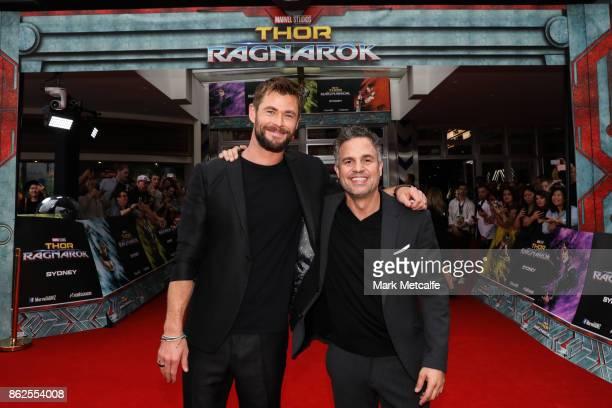 Chris Hemsworth Taika Waititi and Mark Ruffalo attend the Thor Ragnarok Sydney Screening Event on October 15 2017 in Sydney Australia