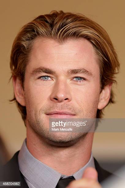 Chris Hemsworth talks to the media at the Johnnie Walker Marquee on Derby Day at Flemington Racecourse on November 1 2014 in Melbourne Australia