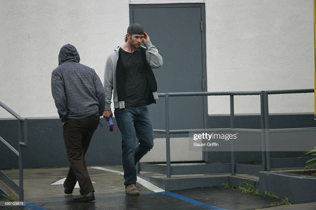 Chris Hemsworth visits his neighborhood gas station on December 31, 2012 in Los Angeles, CA.