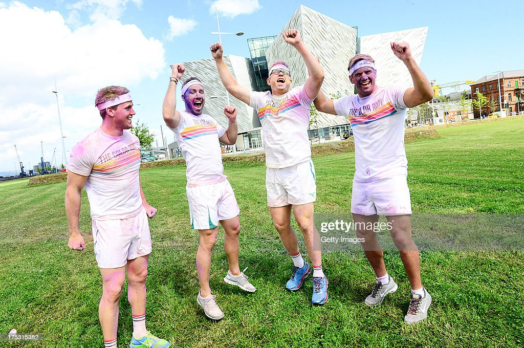 AUGUST 2 Chris Henry Craig GIlroy Paddy Wallace of Ulster Rugby Club and Tom Wallace promote The Colour Run presented by Dulux on August 2 2013 in...