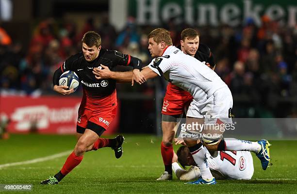 Chris Henry of Ulster and Richard Wigglesworth of Saracens during the European Champions Cup Pool 1 rugby game at Kingspan Stadium on November 20...