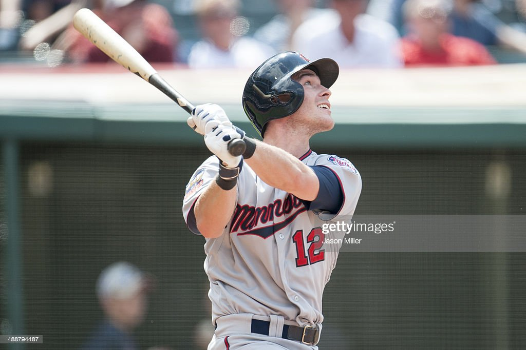 <a gi-track='captionPersonalityLinkClicked' href=/galleries/search?phrase=Chris+Herrmann&family=editorial&specificpeople=7553012 ng-click='$event.stopPropagation()'>Chris Herrmann</a> #12 of the Minnesota Twins flies out to left during the ninth inning against the Cleveland Indians at Progressive Field on May 8, 2014 in Cleveland, Ohio. The Indians defeated the Twins 9-4.